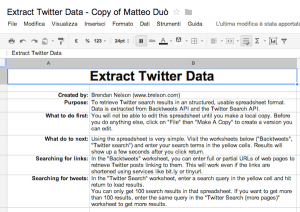 Extract twitter data in google spreadsheet