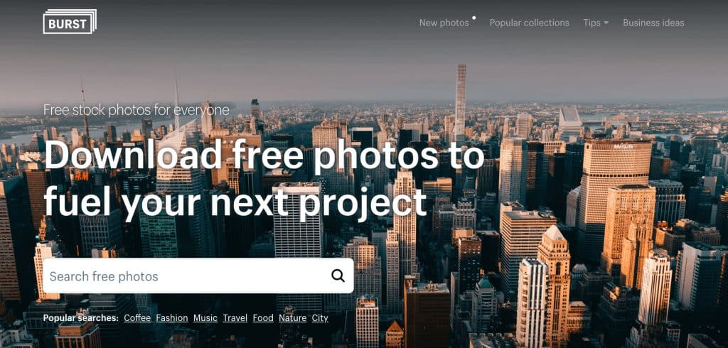 Burst free photos from Shopify