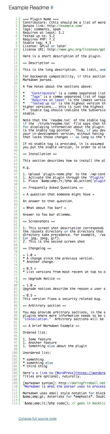 Example of readme file — wordpress.org